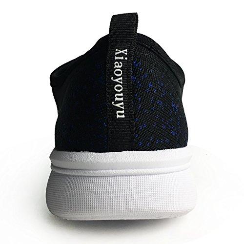 Xiaoyouyu Donna Leggere Slip On Sneaker Flyknit Scarpe Sportive Da Passeggio Spiaggia Scarpe Da Ginnastica Traspiranti Palestra Scarpe Da Corsa Nere