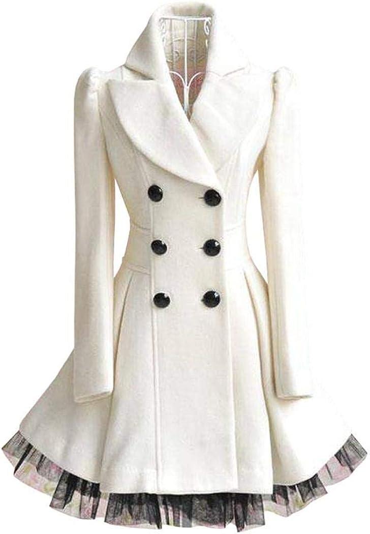 Flabor Womens Coat Winter Elegant Winter Coat Womens Long Trench Coat Black Wool Coat Winter Jacket Two-Layer Hem Outwear