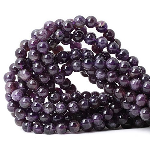 CHEAVIAN 45PCS 8mm Natural Amethyst Gemstone Round Loose Beads Crystal Energy Stone Healing Power for Jewelry Making 1 Strand 15""