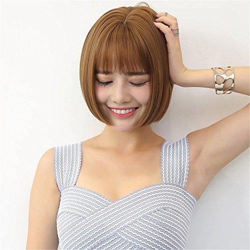Womens Angelina Brown Wig (Prettybuy Synthetic Hair Short Straight Bob Wig Kanekalon Futura Hair Wig, Brown)