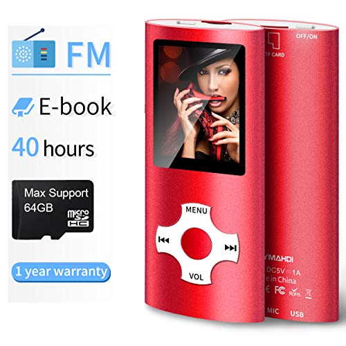 Mymahdi MP3/MP4 Portable Player,1.8 Inch LCD Screen and Micro SDHC Card Slot,Max Support 128GB Micro SD TF Card,Red