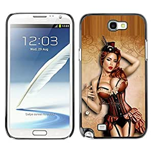 Planetar® ( Sexy Pin Up Model Lingerie Stockings ) SAMSUNG Galaxy Note 2 II / N7100 Fundas Cover Cubre Hard Case Cover