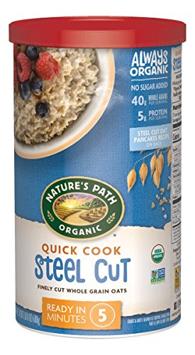 Nature's Path Organic Oats, Quick Cook Steel Cut Oats, 24 Ounce Canister (Pack of 6) (Style Path)