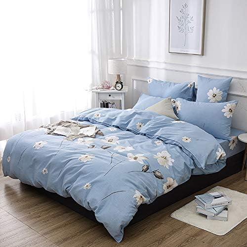Ensemble de draps Kit Fleur Kit Coton Bleu Clair Simple Active Impression Et Teinture Literie Quatre Pièces (Size : B)