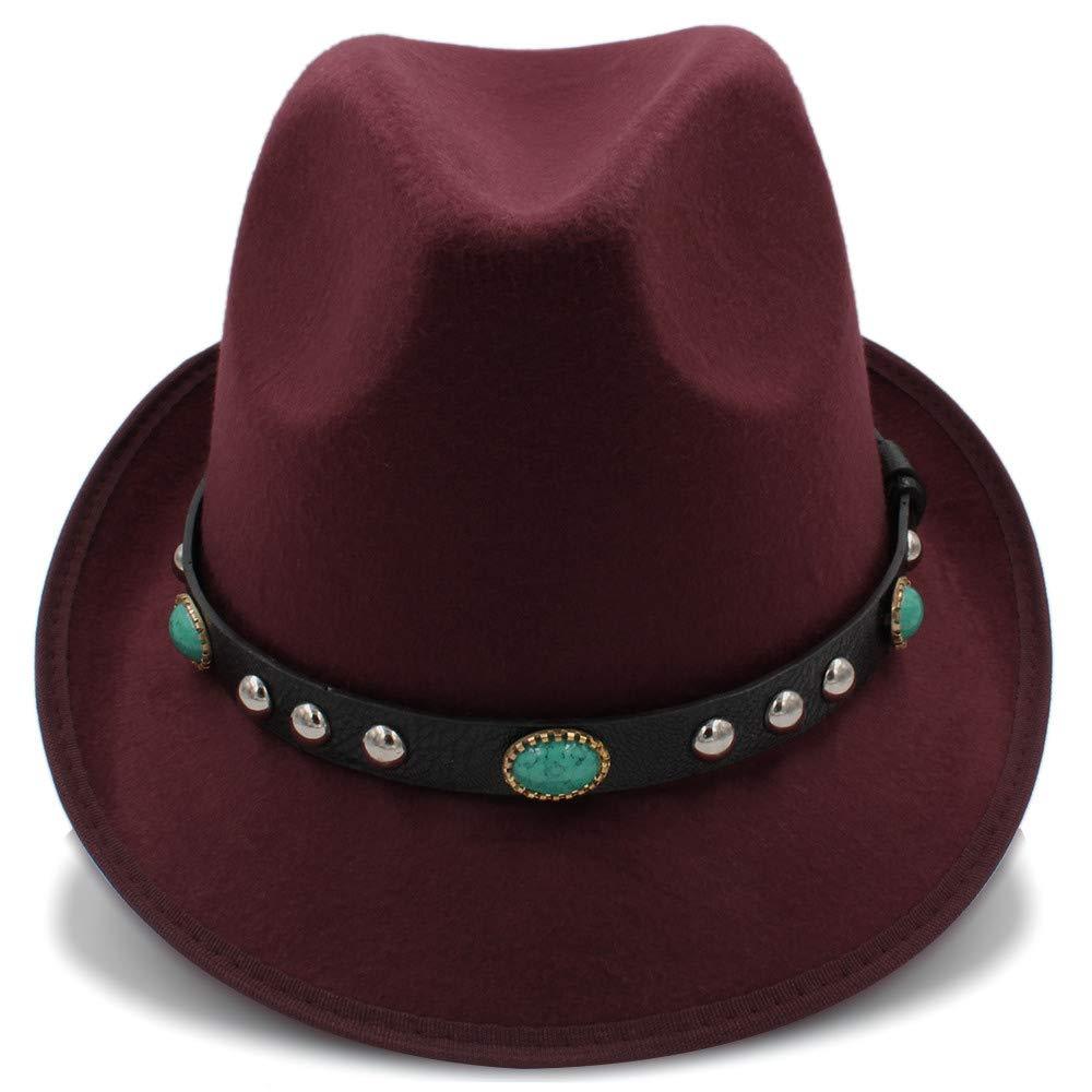 Wool Jazz Cap Hat for Women Vintage Winter Ladies Fedora Hats with Metal Belt Female Curled Brim Hat