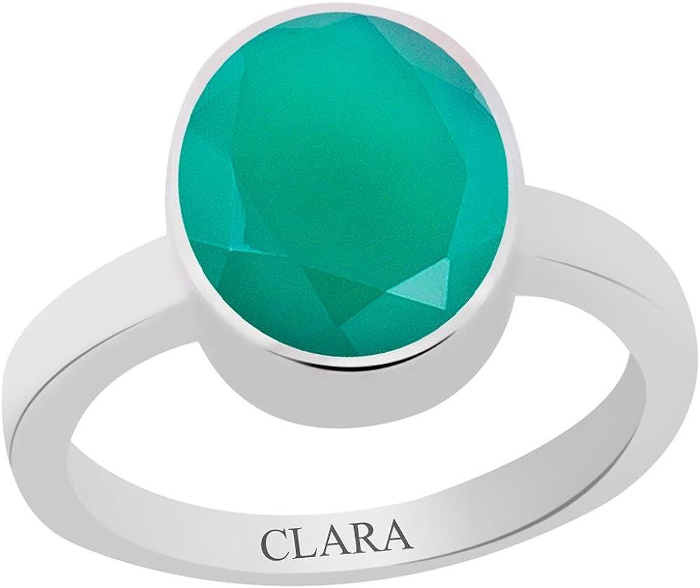 Haqiq 7.5Cts Or 8.25Ratti Elegant Silver Ring Clara Certified Green Onyx