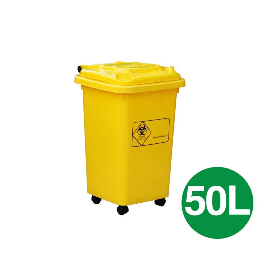 100L Bote de Basura con Ruedas Hospital m/édico Cl/ínica Recicla Cubos de Basura para Exterior Interior Hogar Recipiente de pl/ástico de Gran Capacidad en//Compost al Aire Libre Cubos de Basura de 50L