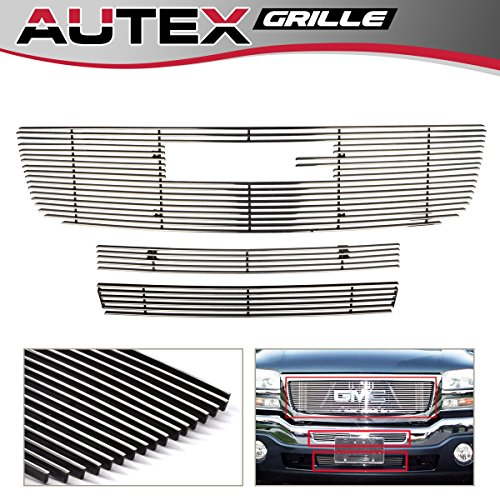 AUTEX Aluminum Polished Main Upper Grille + Air Dam Grill + Lower Bumper Billet Grille Combo Compatible With GMC Sierra 1500 1500HD 2500HD 3500 2003-2006,GMC Sierra 2500 2003-2004 Grill Insert G67926A