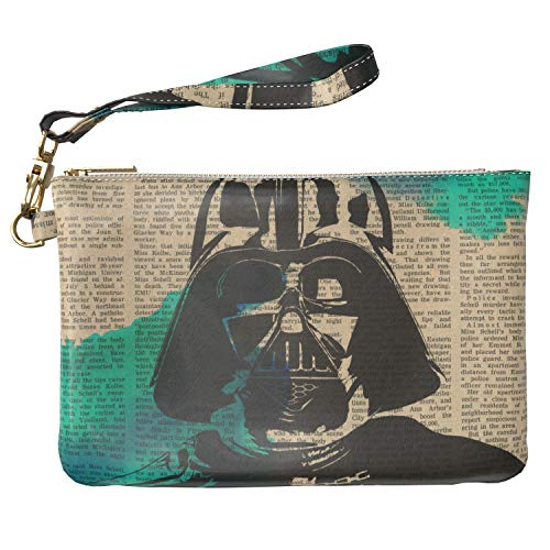 Lex Altern Makeup Bag 9.5 x 6 inch Cute Darth Vader Star Wars Vintage Painted Storage Wristband Girl Design Print Purse Pouch Cosmetic Travel PU Leather Case Toiletry Women Zipper Organizer Bathroom -