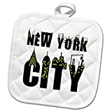 3dRose Alexis Design - American Cities - Decorative text New York City, landmarks, shining windows on white - 8x8 Potholder (phl_286456_1)