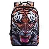 AIZHE 3D Print Animal Schoolbag Cute Bookbag Cool Backpack for Boys and Girls (Tiger)