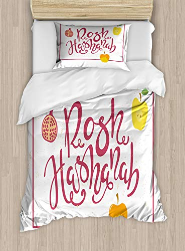 Ambesonne Rosh Hashanah Duvet Cover Set Twin Size, Israel New Year Text Fruity Theme Pomegranate Apples Frame Style, Decorative 2 Piece Bedding Set with 1 Pillow Sham, Pale Ruby Mustard Green