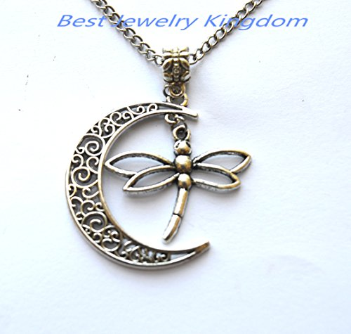 (Crescent Moon Necklace,Moon Necklace,Silver Dragonfly Pendant Dragonfly Necklace Fine Jewelry Gift )