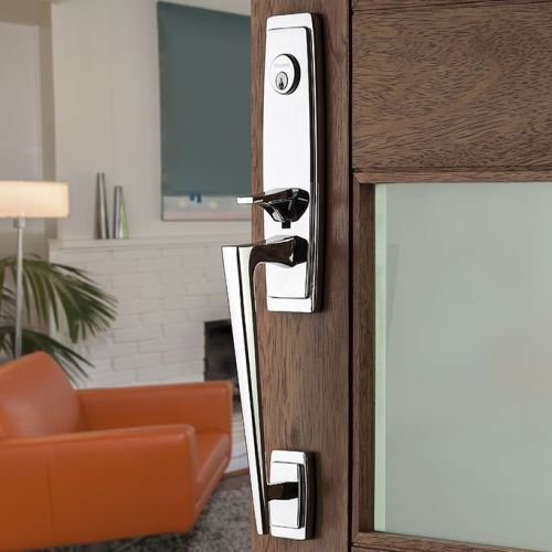 Baldwin 6920.Lent Palm Springs Left Handed Single Cylinder Keyed Entry Mortise H, Satin Black