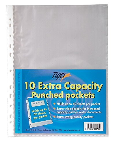 50 x A4 Extra Large Capacity Plastic Wallets Punched xl Glass Clear Pockets (Plastic Sheet Extra Large)