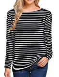 Women's Long Sleeve/Short Sleeve Striped T-Shirt Tee Shirt Tops Slim Fit Blouses