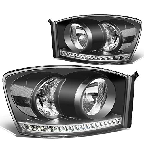 Pair Black Housing Clear Side LED Strip DRL Headlight Lamps for Dodge Ram 1500 2500 3500 06-09