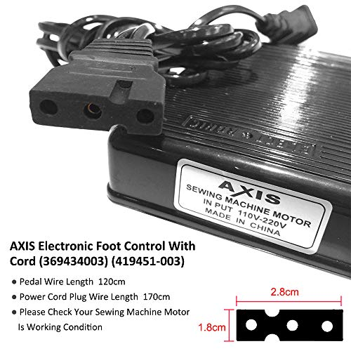 AXIS Electronic Foot Control with Cord 369434003, 419451-003 Serger Sewing Machine Singer Foot Pedal Variable Speed Controller for Juki Babylock Bernette Consew Elna Euro-Pro Replacement by AXIS