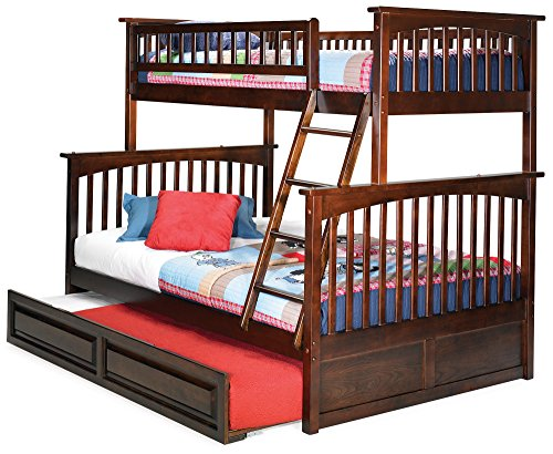 Atlantic Furniture Columbia Bunk Bed Trundle Bed, Twin Over Full, Antique Walnut