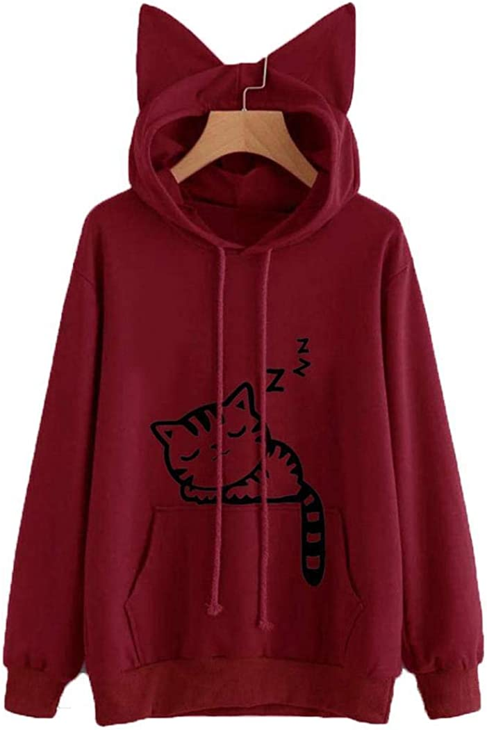 villeur Women Casual Long Sleeve Hooded Round Neck Printed Pullover Sweatershirt