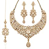 I Jewels Indian Kundan Necklace Set with Maang Tikka for Women K7033W (White)