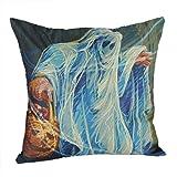 """2 Packs Throw Pillow Cases - Halloween Ghost Print Flax + Hidden Zipper Closure + 18"""" x 18"""" Sofa Cushion Cover (A)"""