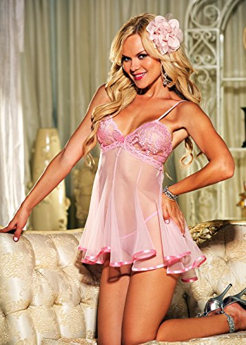 Sheer Lace and Net Babydoll Red Small
