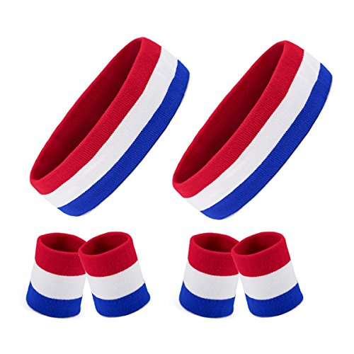(Homfshop 6 Pieces Striped Sweatbands Set, Includes 2 Pieces Sports Headband and 4 Pieces Wristbands Sweatbands Colorful Cotton Striped Sweatband Set American Flag Style for Men and Women)