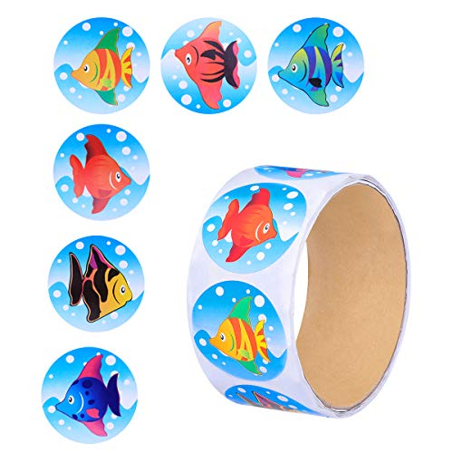 NUOLUX Colorful Tropical Fish Stickers Roll for Kids Great Party Favors Creative Reward Gift Size 100 Stickers -