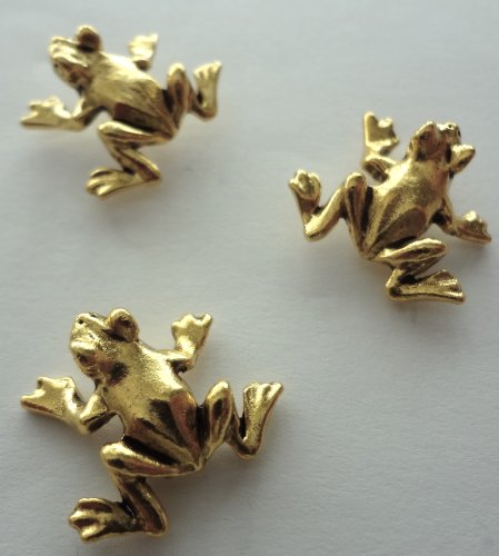 15 push pins Antique Gold *FROGS* Push Pins -T-04AG
