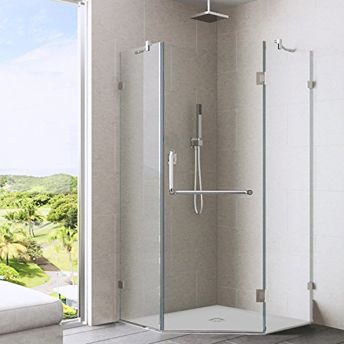 VIGO Piedmont 40 x 40-in. Frameless Neo-Angle Shower Enclosure with .375-in. Clear Glass and Brushed Nickel ()