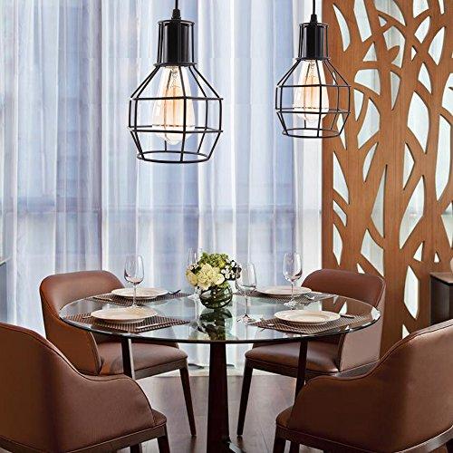 Veesee E26 Hanging Adjustable Industrial Lighting Fixtures,Vintage Ceiling Pendant Lamp Cage Holders,Edison Bulb Metal Chandelier Drop Light for Kitchen Island Restaurant Coffee(Black) by Veesee (Image #6)