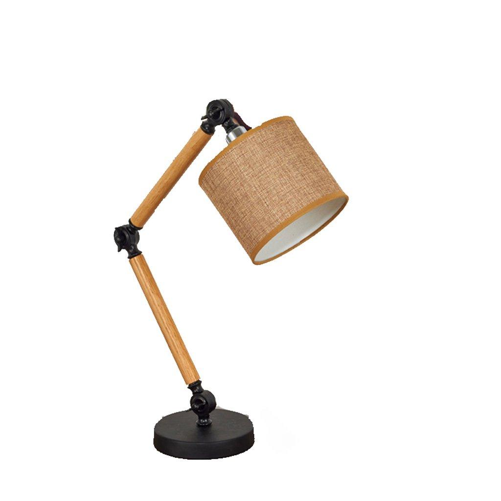 Klapptisch Lampe Stoff Lampenschirm Nachttischlampe Studie Schreibtisch Licht Metall Tischleuchte Holz Halterung Beleuchtung (E27)