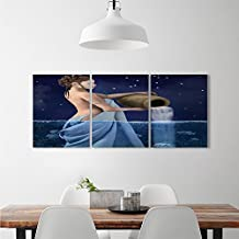 djidliyz8 Astrology Wall Decoration Aquarius Lady with Pail in the Sea Water Signs Saturn Mystry at Night Starsfashion stickers for wall Blue Dark Blue
