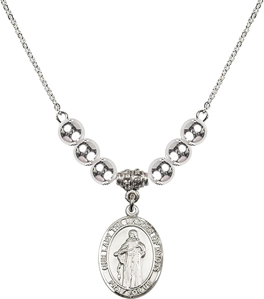 18-Inch Rhodium Plated Necklace with 6mm Sterling Silver Beads and Sterling Silver Our Lady the Undoer of Knots Charm.