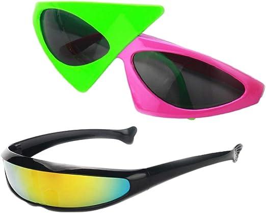 P Prettyia 2 Unids Gafas de Sol Estrecho Futurista Plástico ...