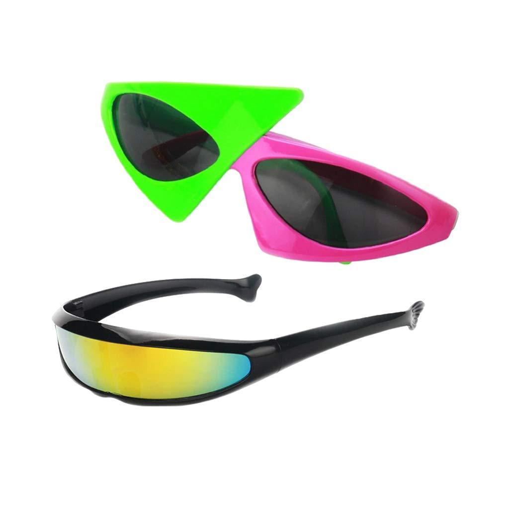 IPOTCH 2pcs Gafas de Sol Futurista Marco Plástico Accesorios ...