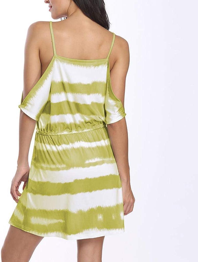 Severkill Womens Stripe Printed Strap Sleeveless Cold Shoulder Tie Mini Dress Summer Casual Slim Cami Dress