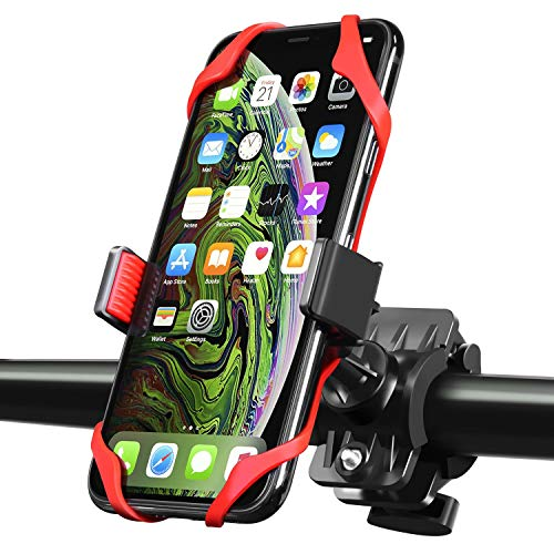 INSTEN Bike Mount Phone Holder, Universal Bicycle Motorcycle MTB Rack Handlebars Mount Cradle w/Secure Grip, 360 Rotatable, Rubber Strap Compatible with iPhone X/XS Max/XR/7/8 Plus, Galaxy S9/S9+ Red