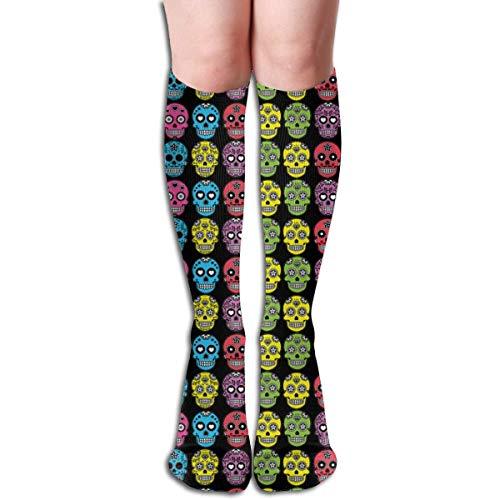 Funlery Happ Halloween Mexican Sugar Skull Women Men Compression Stockings Stockings (Long 50cm),Moisture Absorption Perspiration ()