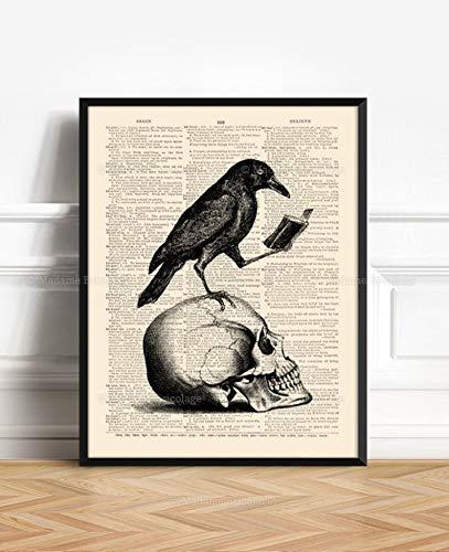 Edgar Allan Poe Halloween Party Ideas (Skull with Raven Edgar Allan Poe Raven Nevermore Book Reading Crow Black Bird Gothic Poster Gift for Book Lover Gift for Goth Halloween)