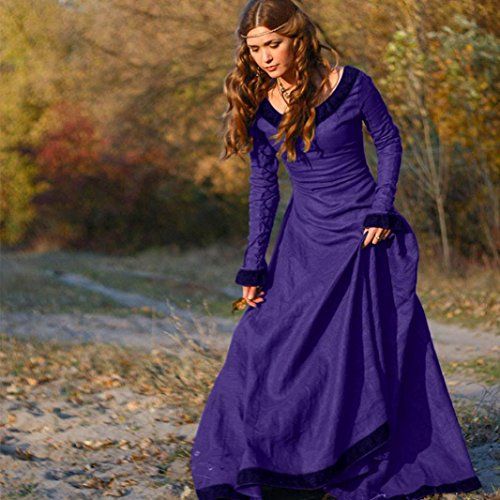 Mdival FEITONG Costume Violet Princesse Cosplay gothique Cru Robe Femmes Renaissance Robe EFwrFB