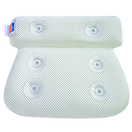 Large Bath Pillow Cushion with Non Slip Suction Cups - Perfect for Men, Women, Adults, Kids, or a Baby to provide Seat and Body Support in any Spa Bath Tub