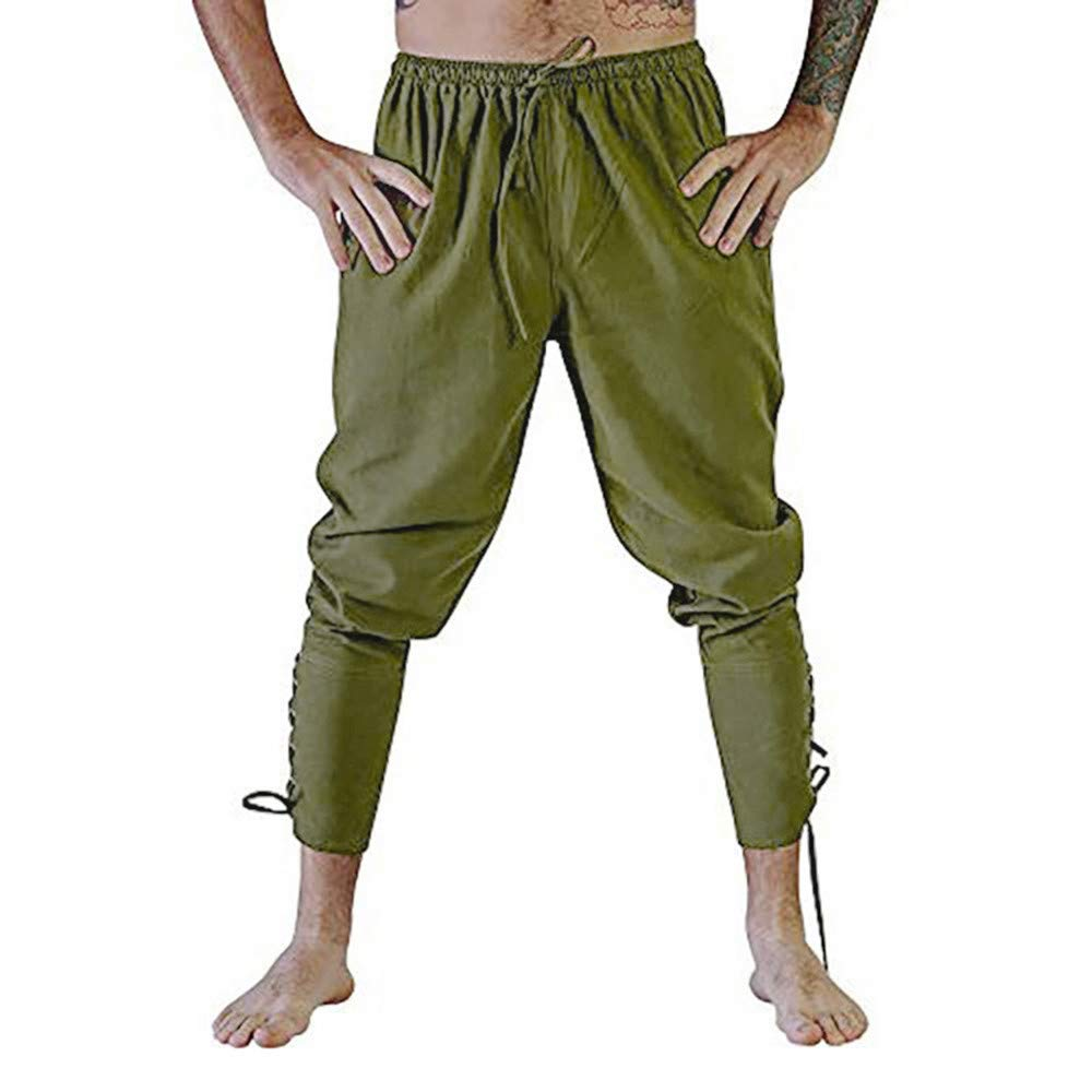 PASATO Clearace Sale! Mens Fashion Autumn Joggers Solid Color Casual Drawstring Sweatpants Trousers(Army Green, 2XL)