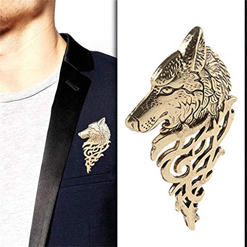 Brooch Stylish Pin (WEILYDF Wolf Head Brooch Stylish Domineering Men's Shirt Suit Collar Pin Vintage Personality Tuxedo Coat Collar Pin Buckle)