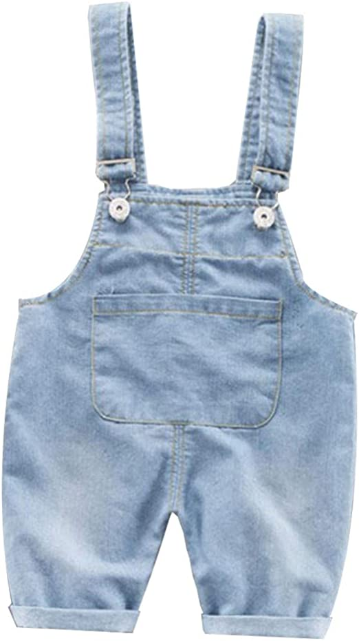 Newmao Toddler Girls Summer Short Sleeve Solid Button Romper Jumpsuit Outfits