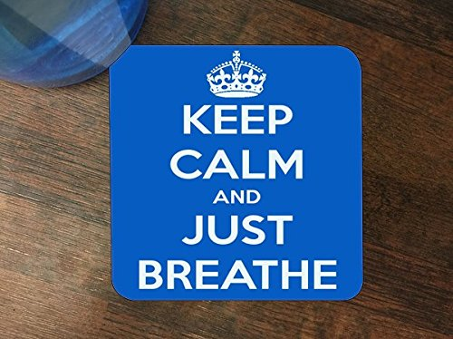 Keep Calm and Just Breathe Silicone Drink Beverage Coaster 4 Pack - Coaster Pearl