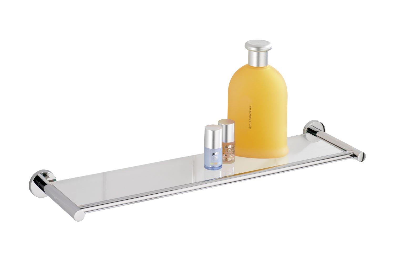 WENKO 17810100 Power-Loc Mensola in vetro Elegance - fissaggio senza trapano, Pressogetto di zinco, 51.5 x 4 x 13.5 cm, Cromo
