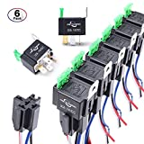 MICTUNING 12V Fuse Relay Switch Harness Set - 30A ATO/ATC Blade Fuse, 4-Pin SPST Automotive Electrical Relays with Heavy Duty 14 AWG Wires - 6 Pack
