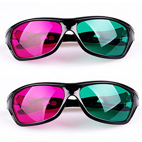 Magenta Green Anaglyph 3D Glasses for Movies and Games - 2 Packs - Green Red/Magenta Lens Plastic Frame